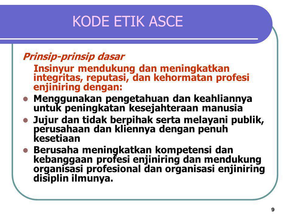 9 KODE ETIK ASCE Prinsip-prinsip dasar Insinyur mendukung dan meningkatkan integritas, reputasi, dan kehormatan profesi enjiniring dengan:  Menggunak