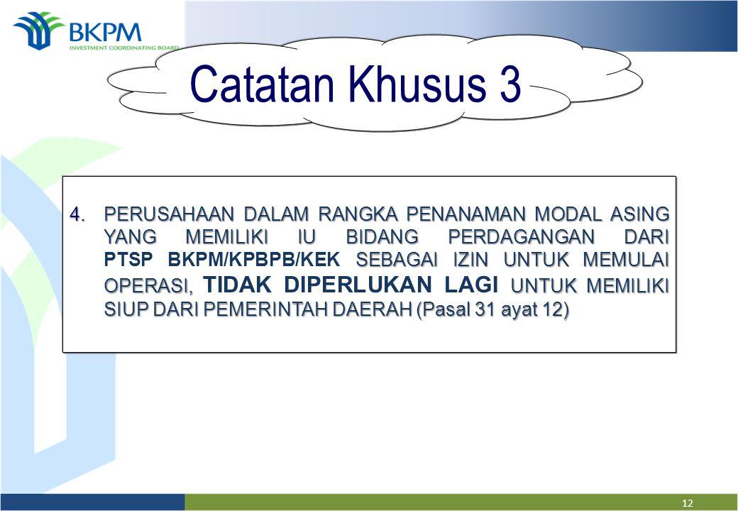 11 Catatan Khusus 2 3.PERUSAHAAN YANG MEMILIKI IP DAN/ATAU MEMILIKI DAPAT MENGAJUKAN SESUAI KETENTUAN PERATURAN SEKTORAL (Pasal 31 ayat 8) 3.PERUSAHAA