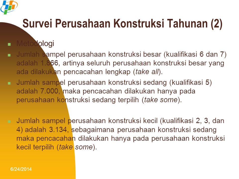 6/24/201411 Survei Perusahaan Konstruksi Tahunan (2)  Metodologi  Jumlah sampel perusahaan konstruksi besar (kualifikasi 6 dan 7) adalah 1.866, arti