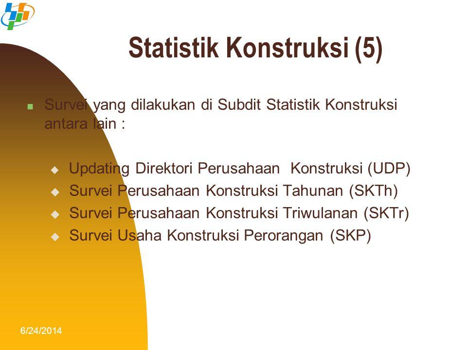 6/24/20146  Survei yang dilakukan di Subdit Statistik Konstruksi antara lain :  Updating Direktori Perusahaan Konstruksi (UDP)  Survei Perusahaan K