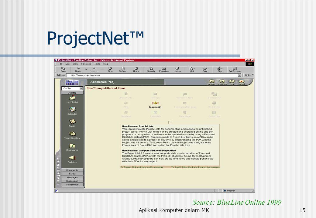 Aplikasi Komputer dalam MK15 ProjectNet™ Source: BlueLine Online 1999