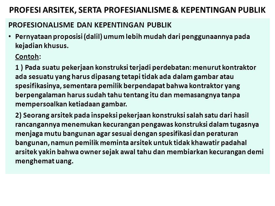 PROFESI ARSITEK, SERTA PROFESIANLISME & KEPENTINGAN PUBLIK PROFESIONALISME DAN KEPENTINGAN PUBLIK • Pernyataan proposisi (dalil) umum lebih mudah dari