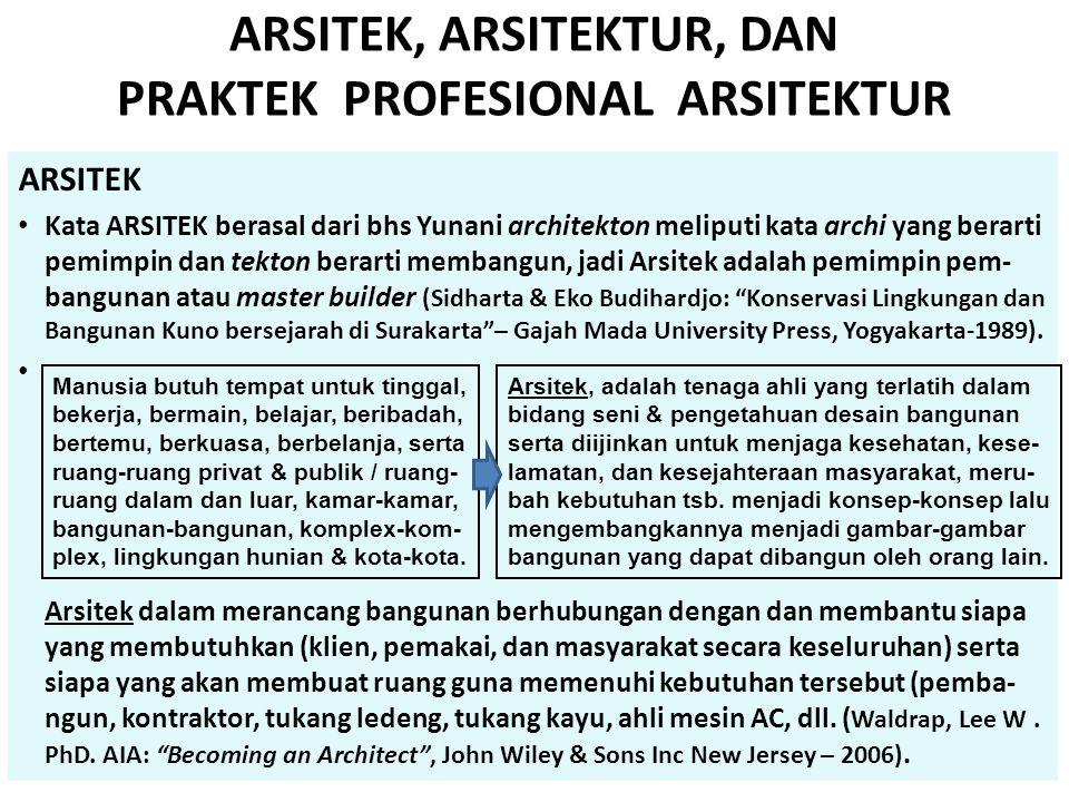 ARSITEK, ARSITEKTUR, DAN PRAKTEK PROFESIONAL ARSITEKTUR ARSITEK • Kata ARSITEK berasal dari bhs Yunani architekton meliputi kata archi yang berarti pe