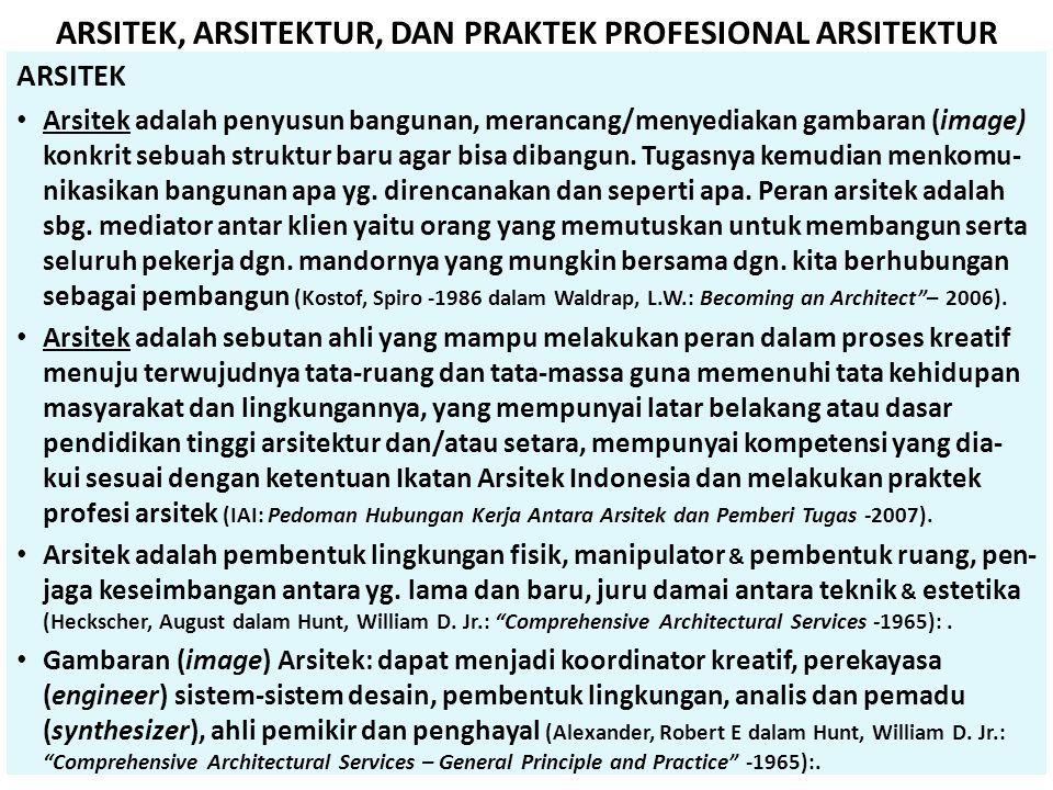 ARSITEK • Arsitek adalah penyusun bangunan, merancang/menyediakan gambaran (image) konkrit sebuah struktur baru agar bisa dibangun. Tugasnya kemudian