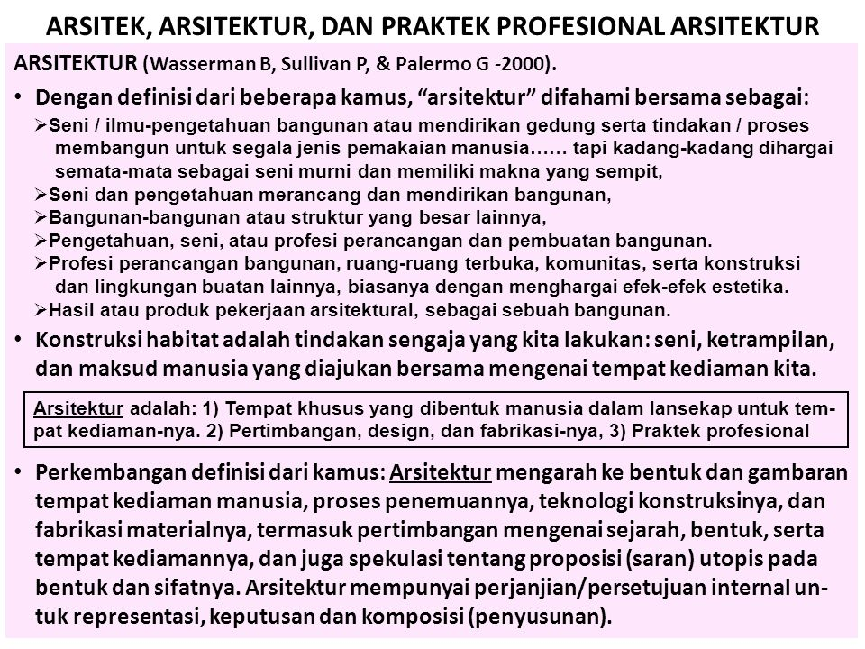 ARSITEK, ARSITEKTUR, DAN PRAKTEK PROFESIONAL ARSITEKTUR ARSITEKTUR (Wasserman B, Sullivan P, & Palermo G -2000). • Dengan definisi dari beberapa kamus