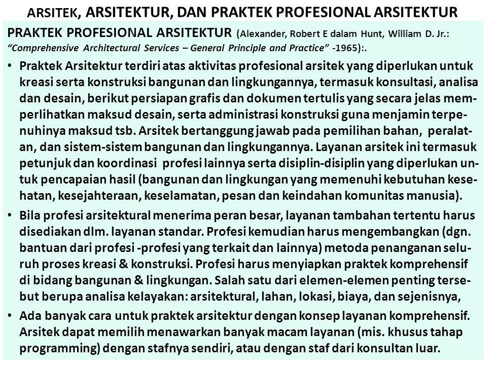 """ARSITEK, ARSITEKTUR, DAN PRAKTEK PROFESIONAL ARSITEKTUR PRAKTEK PROFESIONAL ARSITEKTUR (Alexander, Robert E dalam Hunt, William D. Jr.: """"Comprehensive"""