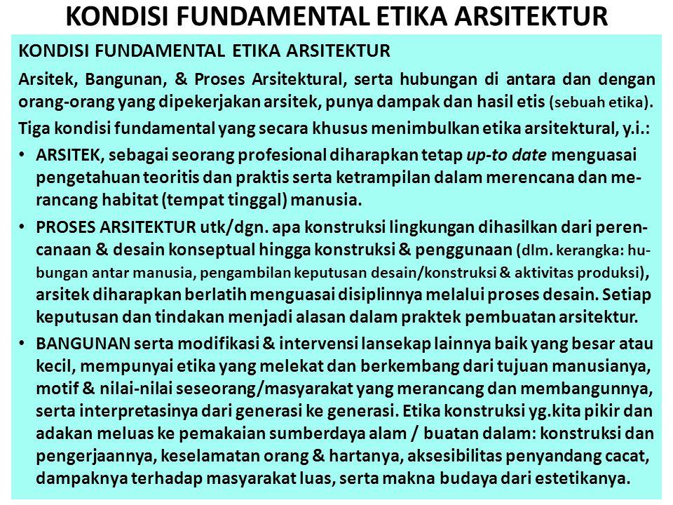 KONDISI FUNDAMENTAL ETIKA ARSITEKTUR Arsitek, Bangunan, & Proses Arsitektural, serta hubungan di antara dan dengan orang-orang yang dipekerjakan arsit