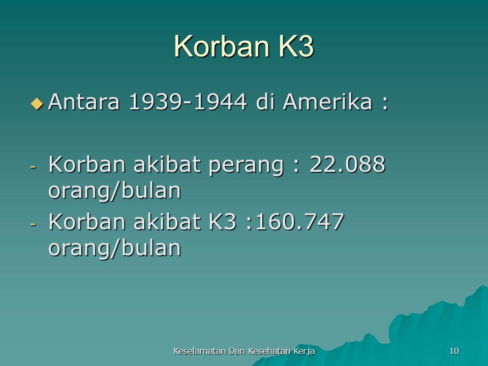 Keselamatan Dan Kesehatan Kerja 10 Korban K3  Antara 1939-1944 di Amerika : - Korban akibat perang : 22.088 orang/bulan - Korban akibat K3 :160.747 o