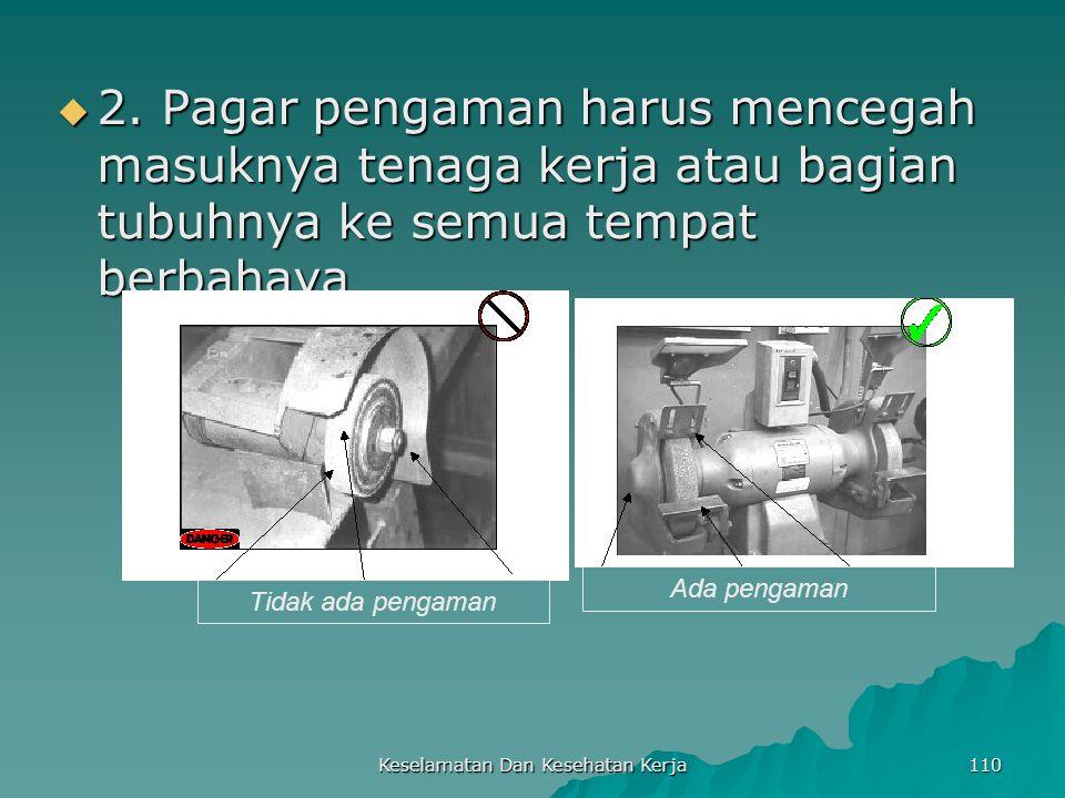 Keselamatan Dan Kesehatan Kerja 110  2. Pagar pengaman harus mencegah masuknya tenaga kerja atau bagian tubuhnya ke semua tempat berbahaya Tidak ada