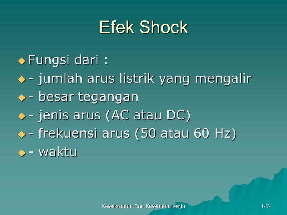 Keselamatan Dan Kesehatan Kerja 143 Efek Shock  Fungsi dari :  - jumlah arus listrik yang mengalir  - besar tegangan  - jenis arus (AC atau DC) 