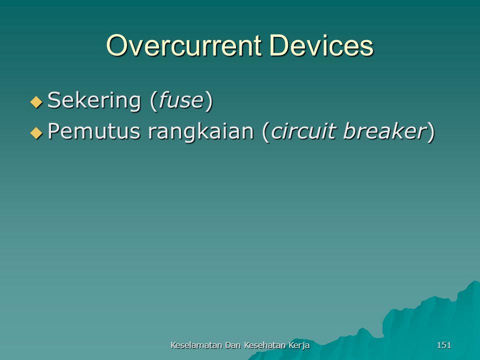 Keselamatan Dan Kesehatan Kerja 151 Overcurrent Devices  Sekering (fuse)  Pemutus rangkaian (circuit breaker)