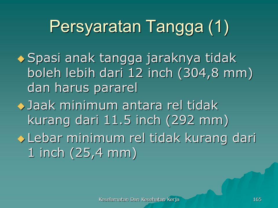 Keselamatan Dan Kesehatan Kerja 165 Persyaratan Tangga (1)  Spasi anak tangga jaraknya tidak boleh lebih dari 12 inch (304,8 mm) dan harus pararel 