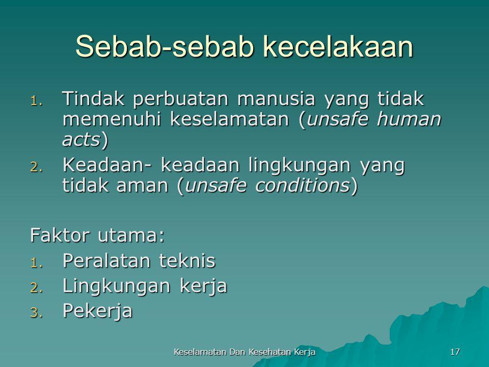 Keselamatan Dan Kesehatan Kerja 17 Sebab-sebab kecelakaan 1. Tindak perbuatan manusia yang tidak memenuhi keselamatan (unsafe human acts) 2. Keadaan-