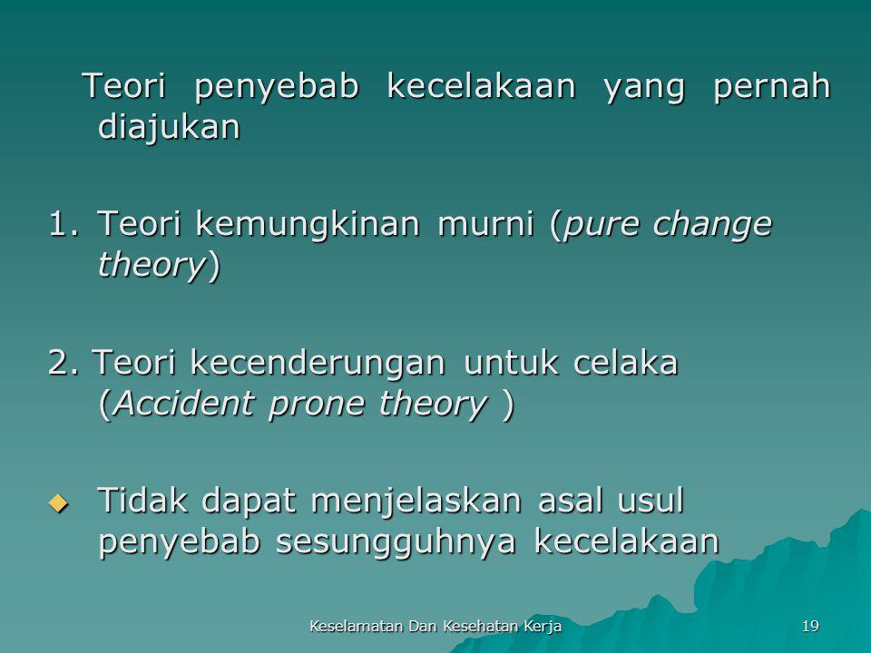Keselamatan Dan Kesehatan Kerja 19 Teori penyebab kecelakaan yang pernah diajukan Teori penyebab kecelakaan yang pernah diajukan 1.Teori kemungkinan m