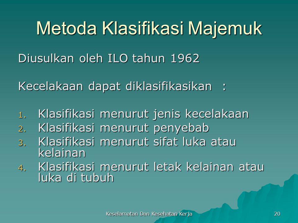 Keselamatan Dan Kesehatan Kerja 20 Metoda Klasifikasi Majemuk Diusulkan oleh ILO tahun 1962 Kecelakaan dapat diklasifikasikan : 1. Klasifikasi menurut