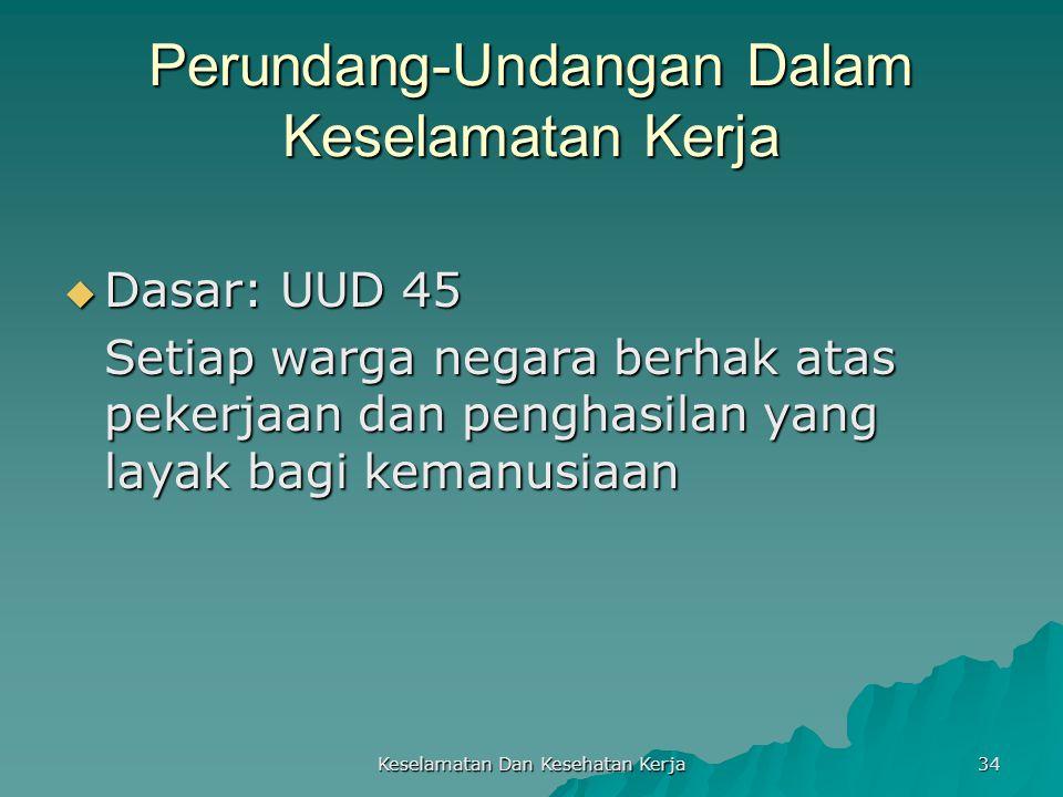 Keselamatan Dan Kesehatan Kerja 34 Perundang-Undangan Dalam Keselamatan Kerja  Dasar: UUD 45 Setiap warga negara berhak atas pekerjaan dan penghasila