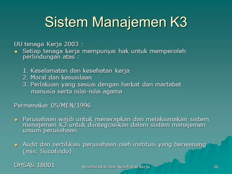 Keselamatan Dan Kesehatan Kerja 36 Sistem Manajemen K3 UU tenaga Kerja 2003 :  Setiap tenaga kerja mempunyai hak untuk memperoleh perlindungan atas :