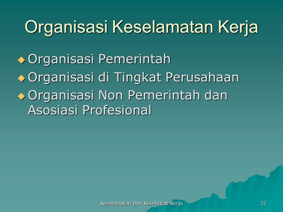 Keselamatan Dan Kesehatan Kerja 37 Organisasi Keselamatan Kerja  Organisasi Pemerintah  Organisasi di Tingkat Perusahaan  Organisasi Non Pemerintah