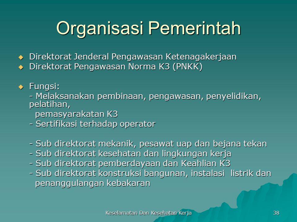Keselamatan Dan Kesehatan Kerja 38 Organisasi Pemerintah  Direktorat Jenderal Pengawasan Ketenagakerjaan  Direktorat Pengawasan Norma K3 (PNKK)  Fu