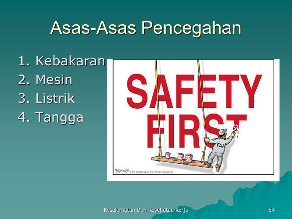 Keselamatan Dan Kesehatan Kerja 54 Asas-Asas Pencegahan 1. Kebakaran 2. Mesin 3. Listrik 4. Tangga