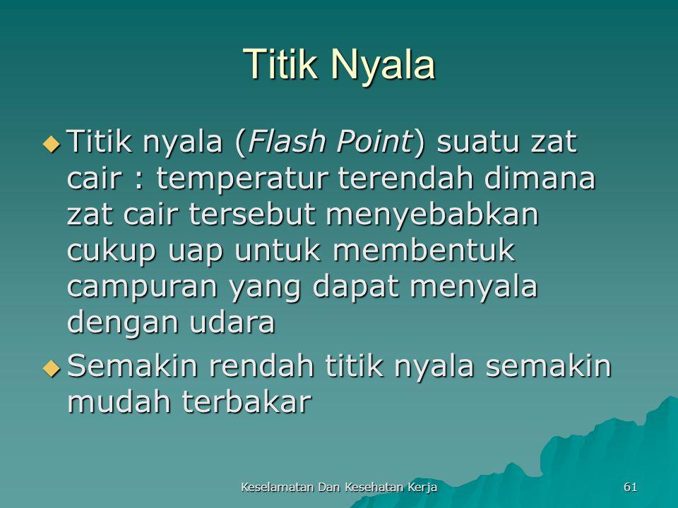 Keselamatan Dan Kesehatan Kerja 61 Titik Nyala  Titik nyala (Flash Point) suatu zat cair : temperatur terendah dimana zat cair tersebut menyebabkan c