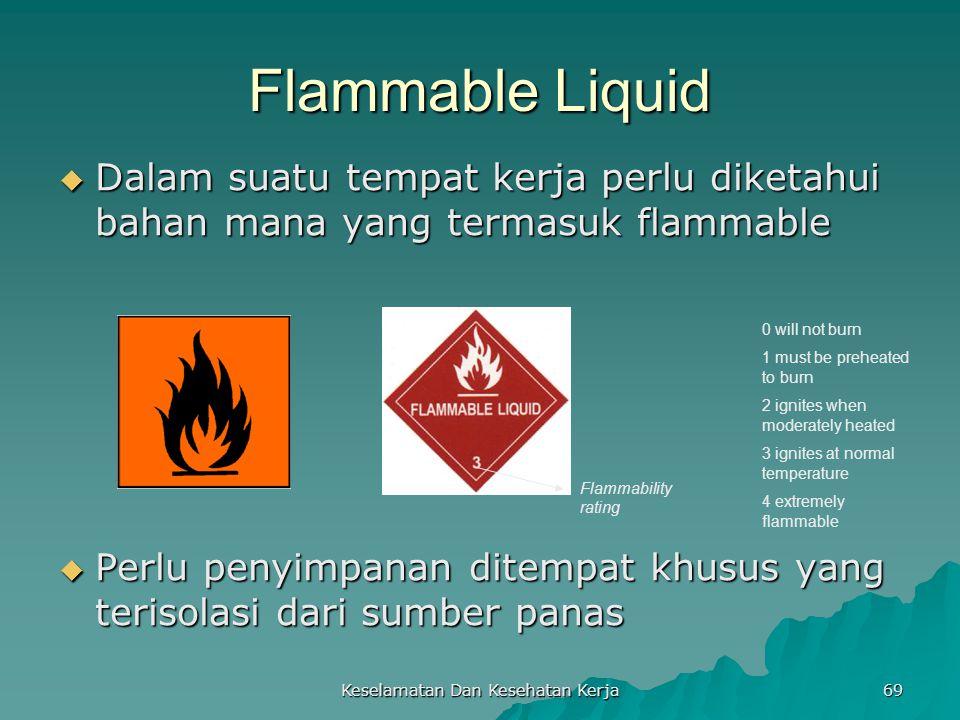 Keselamatan Dan Kesehatan Kerja 69 Flammable Liquid  Dalam suatu tempat kerja perlu diketahui bahan mana yang termasuk flammable  Perlu penyimpanan