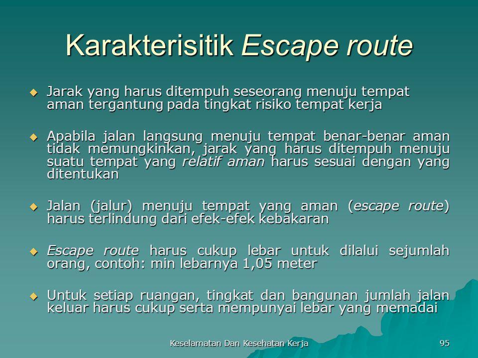 Keselamatan Dan Kesehatan Kerja 95 Karakterisitik Escape route  Jarak yang harus ditempuh seseorang menuju tempat aman tergantung pada tingkat risiko