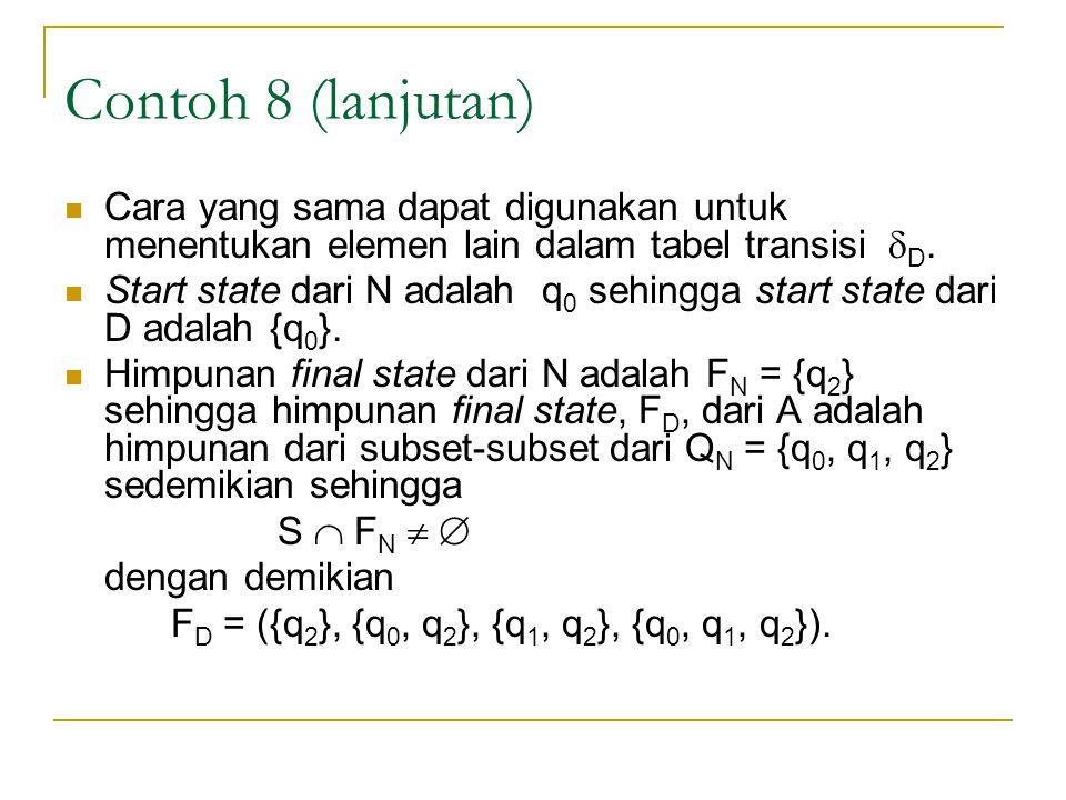 Contoh 8 (lanjutan)  Cara yang sama dapat digunakan untuk menentukan elemen lain dalam tabel transisi  D.  Start state dari N adalah q 0 sehingga s