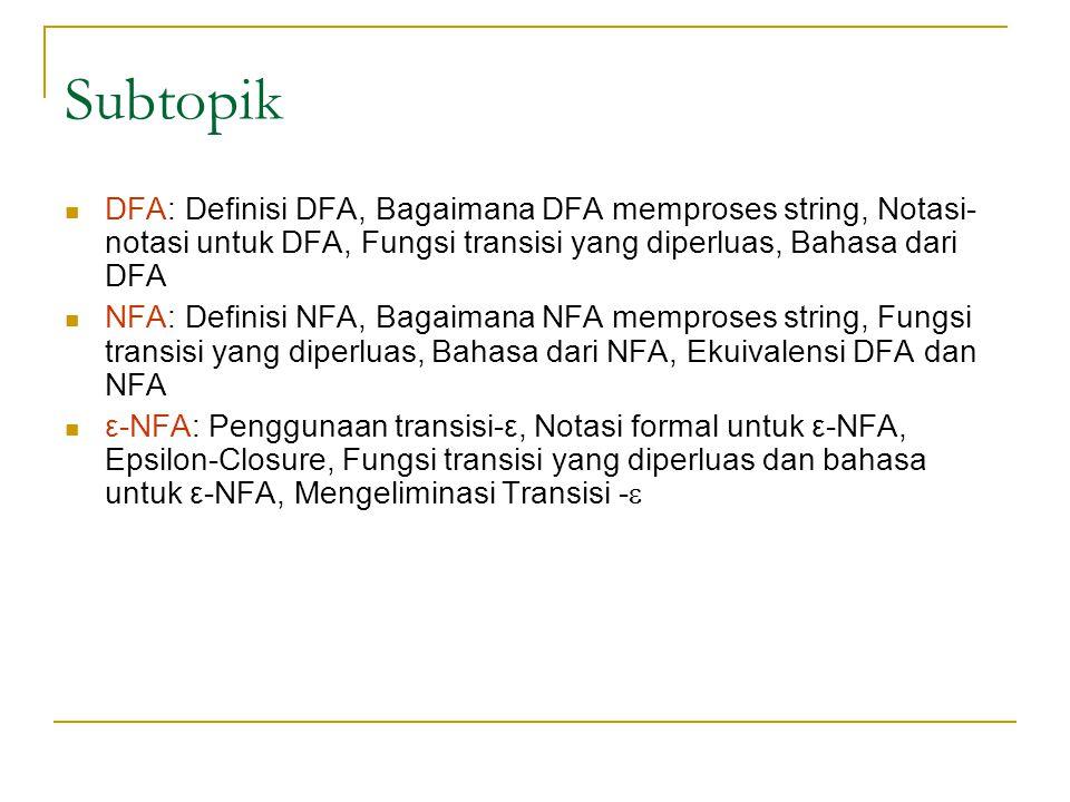 Subtopik  DFA: Definisi DFA, Bagaimana DFA memproses string, Notasi- notasi untuk DFA, Fungsi transisi yang diperluas, Bahasa dari DFA  NFA: Definis