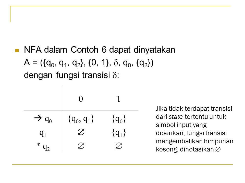  NFA dalam Contoh 6 dapat dinyatakan A = ({q 0, q 1, q 2 }, {0, 1}, , q 0, {q 2 }) dengan fungsi transisi  : 01  q 0 {q 0, q 1 }{q 0 } q1q1  {q 1