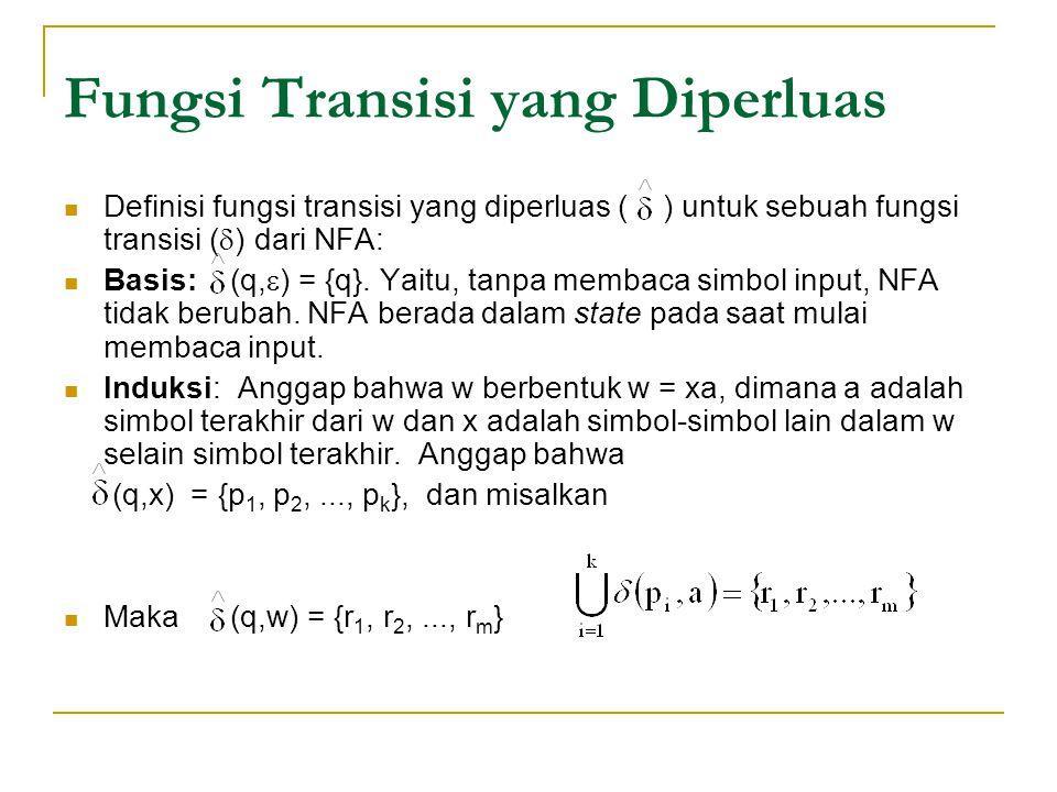 Fungsi Transisi yang Diperluas  Definisi fungsi transisi yang diperluas ( ) untuk sebuah fungsi transisi (  ) dari NFA:  Basis: (q,  ) = {q}. Yait