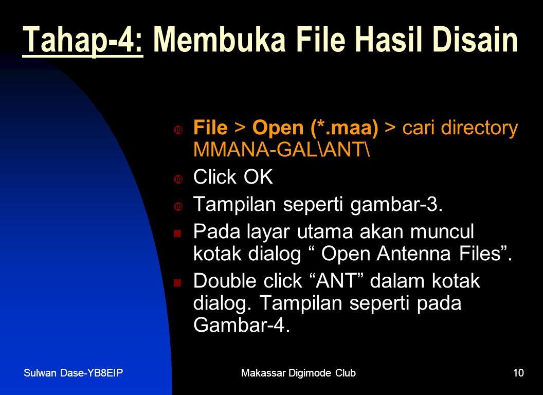 Sulwan Dase-YB8EIPMakassar Digimode Club10 Tahap-4: Membuka File Hasil Disain  File > Open (*.maa) > cari directory MMANA-GAL\ANT\  Click OK  Tampi