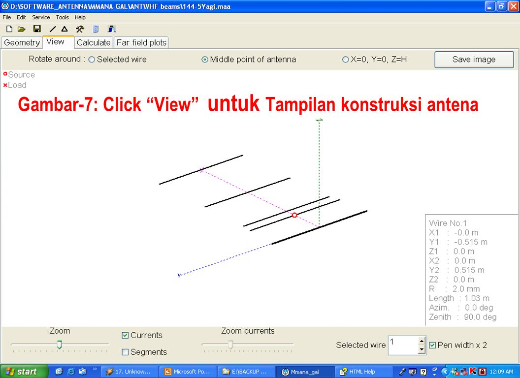 "Sulwan Dase-YB8EIPMakassar Digimode Club16 Gambar-7: Click ""View"" untuk Tampilan konstruksi antena"