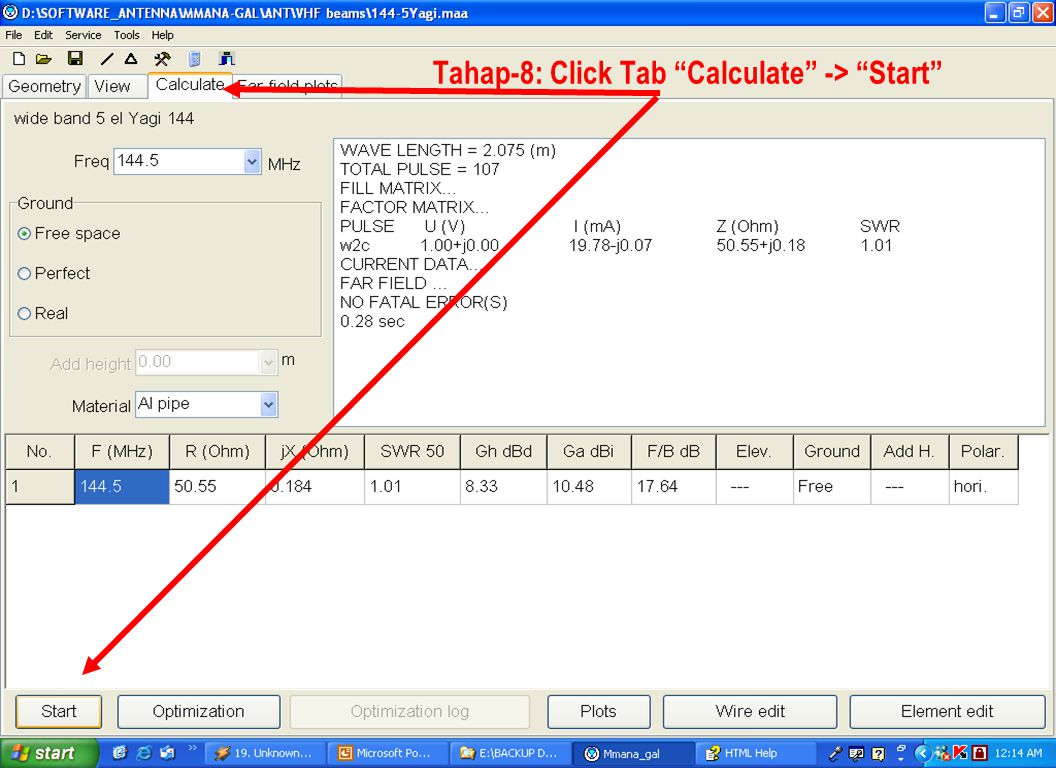 "Sulwan Dase-YB8EIPMakassar Digimode Club17 Tahap-8: Click Tab ""Calculate"" -> ""Start"""