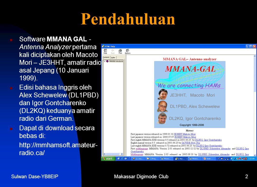 Sulwan Dase-YB8EIPMakassar Digimode Club2 Pendahuluan  Software MMANA GAL - Antenna Analyzer pertama kali diciptakan oleh Macoto Mori – JE3HHT, amatir radio asal Jepang (10 Januari 1999).