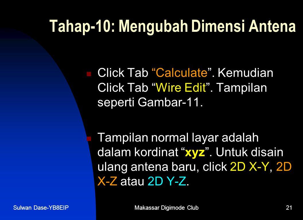 """Sulwan Dase-YB8EIPMakassar Digimode Club21 Tahap-10: Mengubah Dimensi Antena  Click Tab """"Calculate"""". Kemudian Click Tab """"Wire Edit"""". Tampilan seperti"""