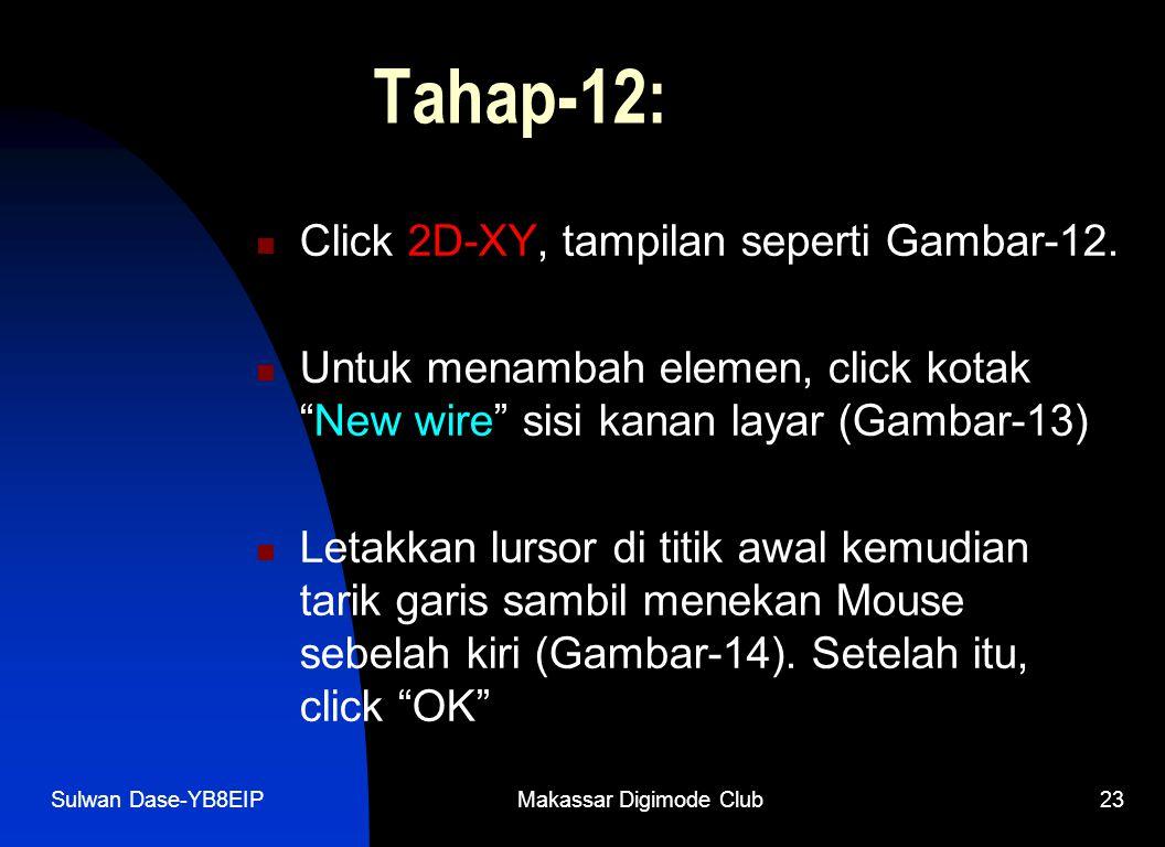 """Sulwan Dase-YB8EIPMakassar Digimode Club23 Tahap-12:  Click 2D-XY, tampilan seperti Gambar-12.  Untuk menambah elemen, click kotak """"New wire"""" sisi k"""