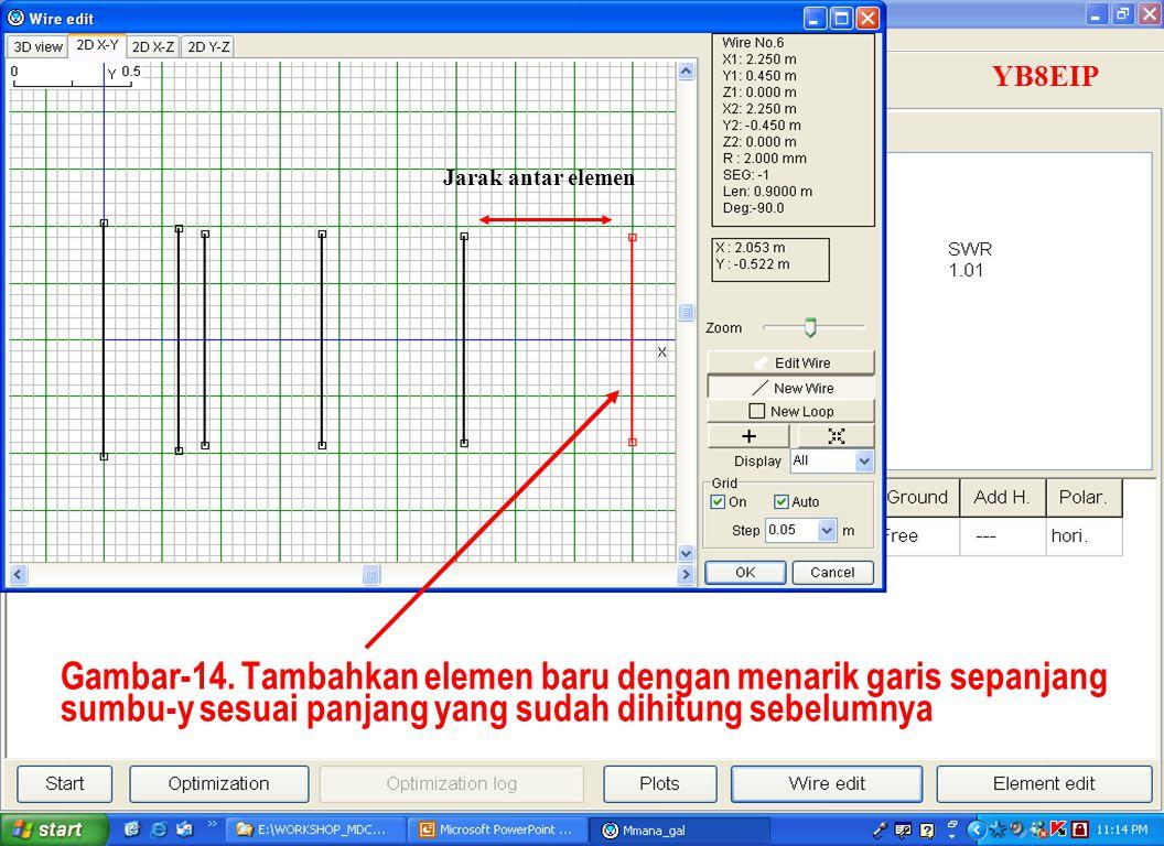 Sulwan Dase-YB8EIPMakassar Digimode Club26 Gambar-14. Tambahkan elemen baru dengan menarik garis sepanjang sumbu-y sesuai panjang yang sudah dihitung