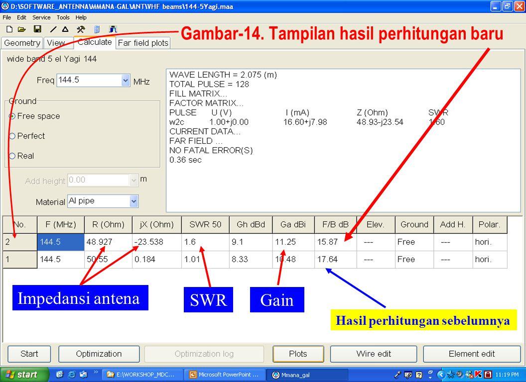 Sulwan Dase-YB8EIPMakassar Digimode Club28 Impedansi antena SWRGain Gambar-14. Tampilan hasil perhitungan baru Hasil perhitungan sebelumnya