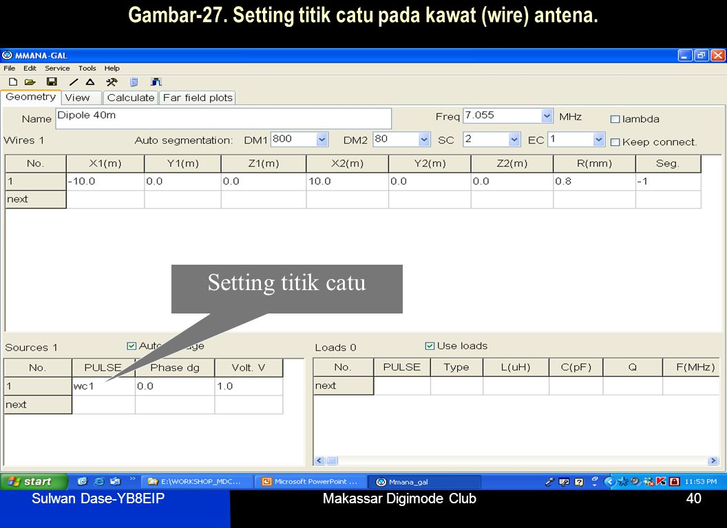 Sulwan Dase-YB8EIPMakassar Digimode Club40 Gambar-27. Setting titik catu pada kawat (wire) antena. Setting titik catu