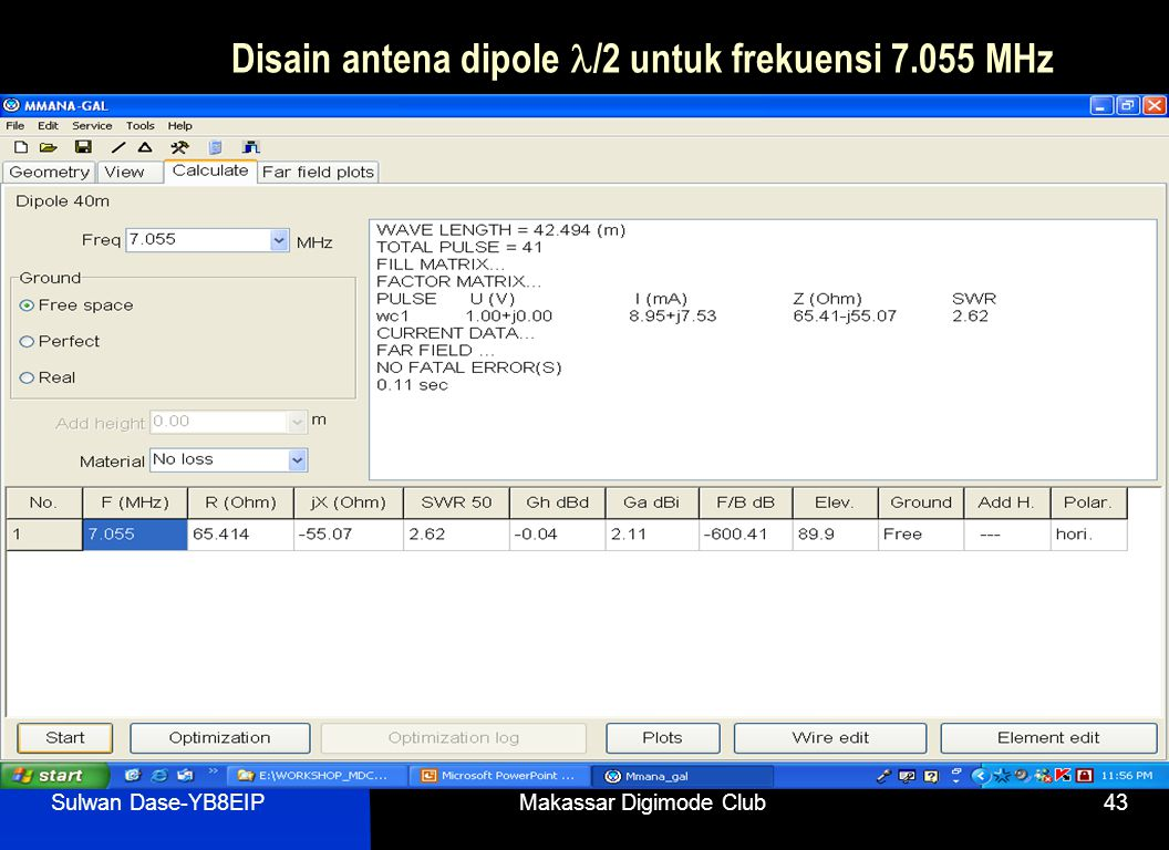 Sulwan Dase-YB8EIPMakassar Digimode Club43 Disain antena dipole  /2 untuk frekuensi 7.055 MHz