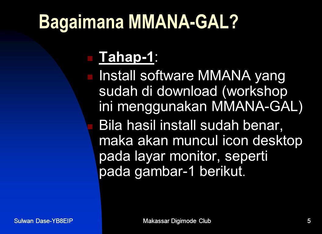 Sulwan Dase-YB8EIPMakassar Digimode Club5  Tahap-1:  Install software MMANA yang sudah di download (workshop ini menggunakan MMANA-GAL)  Bila hasil install sudah benar, maka akan muncul icon desktop pada layar monitor, seperti pada gambar-1 berikut.