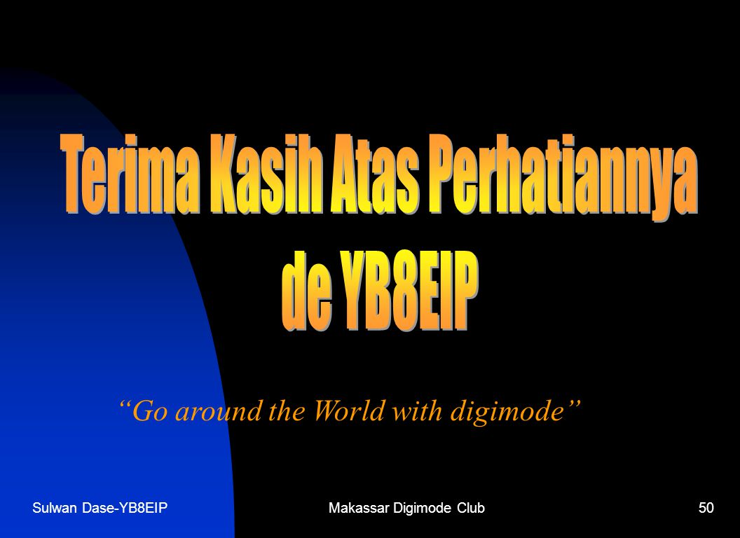 "Sulwan Dase-YB8EIPMakassar Digimode Club50 ""Go around the World with digimode"""