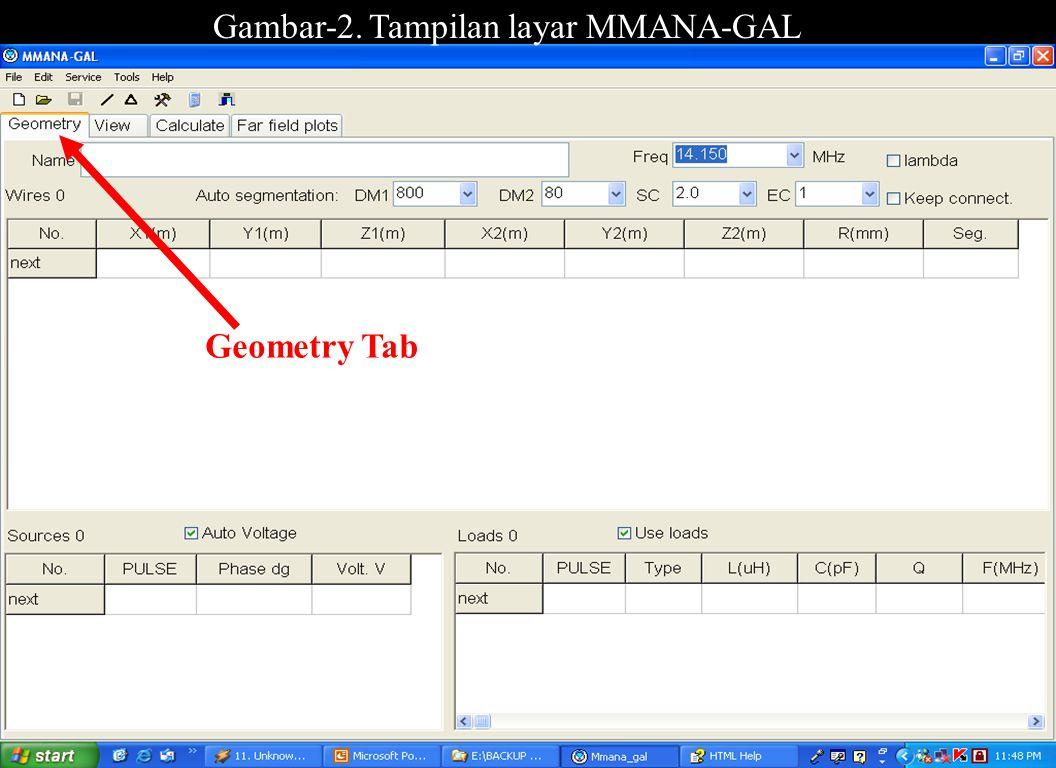 Sulwan Dase-YB8EIPMakassar Digimode Club8 Gambar-2. Tampilan layar MMANA-GAL Geometry Tab