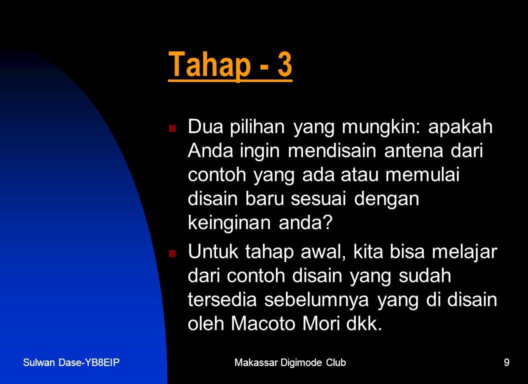 Sulwan Dase-YB8EIPMakassar Digimode Club9 Tahap - 3  Dua pilihan yang mungkin: apakah Anda ingin mendisain antena dari contoh yang ada atau memulai disain baru sesuai dengan keinginan anda.