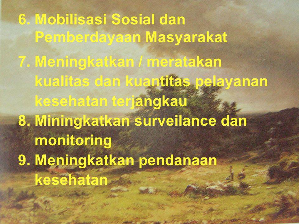 6. Mobilisasi Sosial dan Pemberdayaan Masyarakat 7. Meningkatkan / meratakan kualitas dan kuantitas pelayanan kesehatan terjangkau 8. Miningkatkan sur