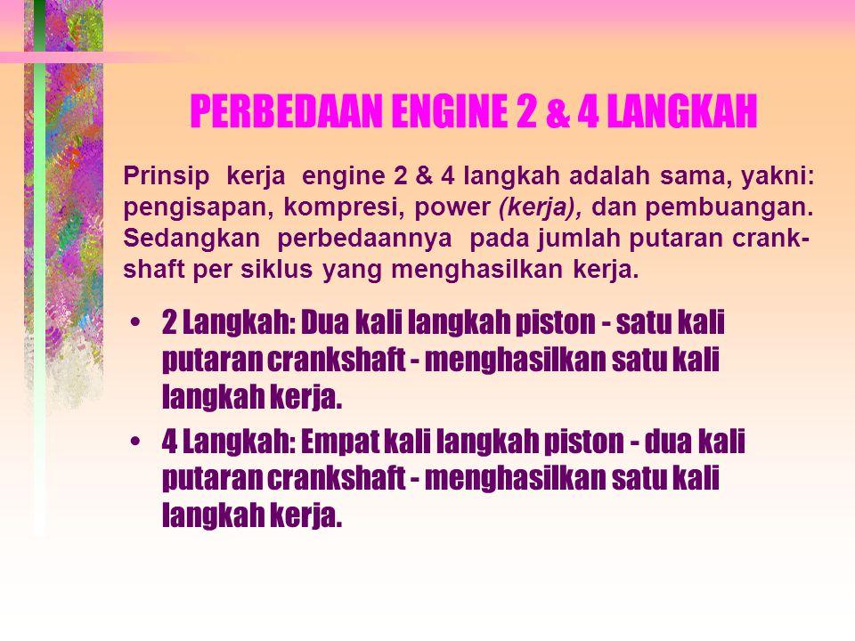 PERBEDAAN ENGINE 2 & 4 LANGKAH •2 Langkah: Dua kali langkah piston - satu kali putaran crankshaft - menghasilkan satu kali langkah kerja.