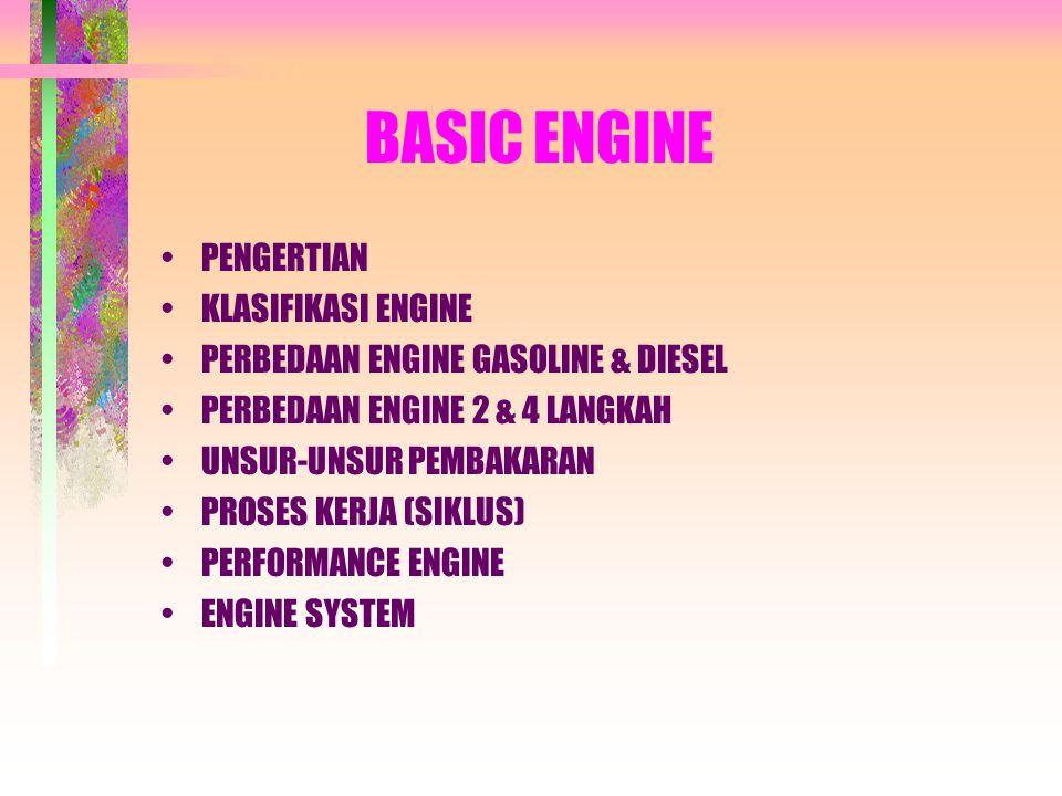 BASIC ENGINE •PENGERTIAN •KLASIFIKASI ENGINE •PERBEDAAN ENGINE GASOLINE & DIESEL •PERBEDAAN ENGINE 2 & 4 LANGKAH •UNSUR-UNSUR PEMBAKARAN •PROSES KERJA (SIKLUS) •PERFORMANCE ENGINE •ENGINE SYSTEM