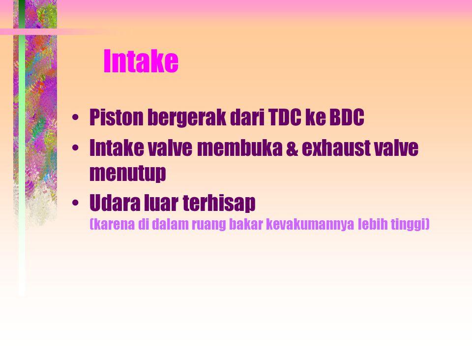 Intake •Piston bergerak dari TDC ke BDC •Intake valve membuka & exhaust valve menutup •Udara luar terhisap (karena di dalam ruang bakar kevakumannya lebih tinggi)