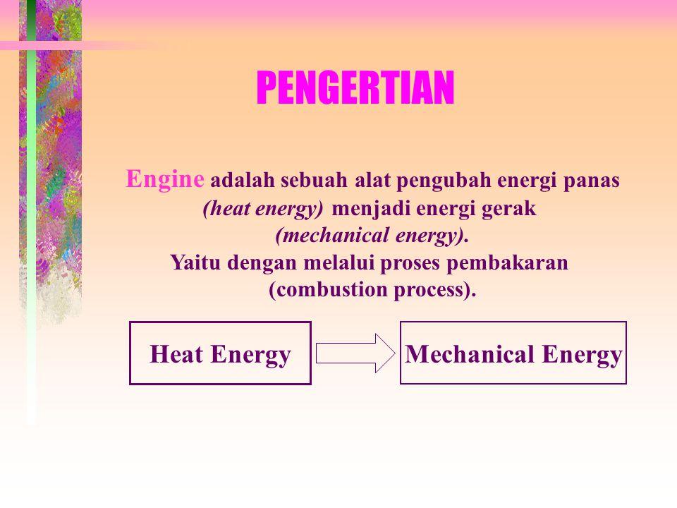 PENGERTIAN Engine adalah sebuah alat pengubah energi panas (heat energy) menjadi energi gerak (mechanical energy).
